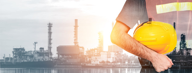 Future factory plant and energy industry concept in creative graphic design. Oil, gas and...