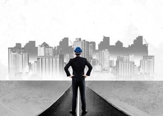 City civil planning and real estate development - Architect people looking at abstract city sketch...