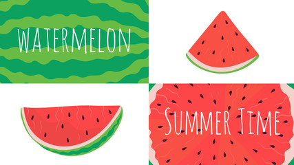 Watermelon slices collage, fresh summer fruit, vector illustration. Natural sweet dessert, healthy vegetarian refreshment. Flat style watermelon icons and pattern with text. Organic summer fruit