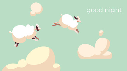 Sheep jump in sky among fluffy clouds, good night vector illustration. Cute animals, count sheep to fall asleep. Farm pets in simple flat style, lambs flying in sky. Trying to sleep, bedtime relax