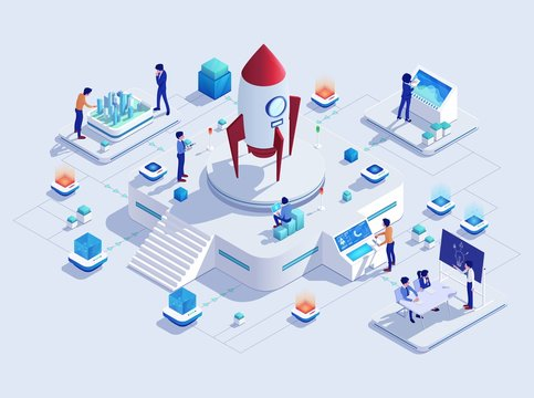 Startup rocket business project concept, vector illustration. Creative team cartoon characters, modern technologies, development strategy. Successful project launch mission, business idea for new