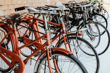 Photo sur Plexiglas Velo Vintage bicycles, collectibles. retro vehicle and transportation. vintage color tone.