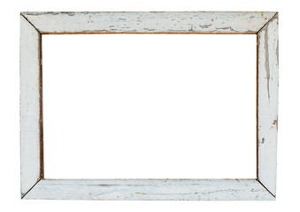vintage wood picture frame in white paint, weathered. object isolated with clipping path on white background.