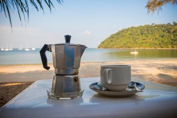 Drinking coffee in paradise Koh Phayam, Ranong, Thailand.