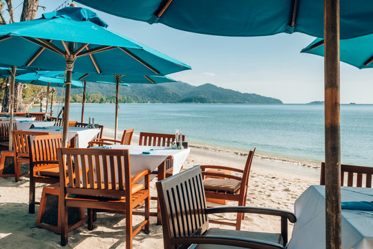 Romantic outdoor beach cafe on the tropical island in Thailand