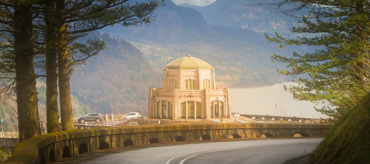 Oregon historical Vista House at Crown Point  panoramic view