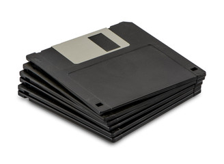 Stacked floppy disks isolated on white background. Floppy disk without sticker. Copy space for text.