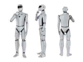 set of artificial intelligence cyborgs or robots think