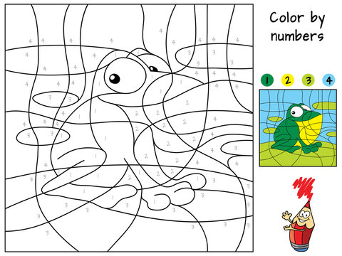Funny little frog sitting on a leaf. Color by numbers. Coloring book. Educational puzzle game for children. Cartoon vector illustration