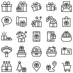 Gift related vector icon set, line style