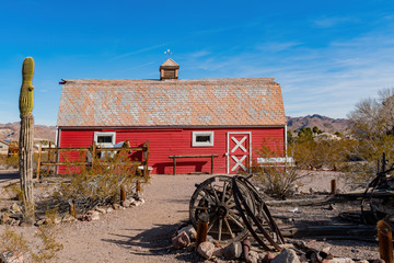 Exterior view of the red barn in Clark County Museum