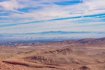 High angle view of the Las Vegas skyline from the famous Red Rock Canyon
