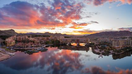 Sunset aerial view of the beautiful Lake Las Vegas area