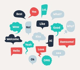 Chat hand drawn speech bubbles. Thinking balloon with rough edges and noisy grunge texture. Vector illustration set isolated chatting comments abstract shape