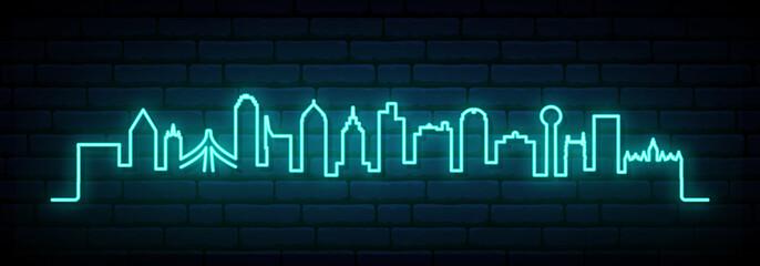 Foto auf AluDibond Blau türkis Blue neon skyline of Dallas city. Bright Dallas long banner. Vector illustration.