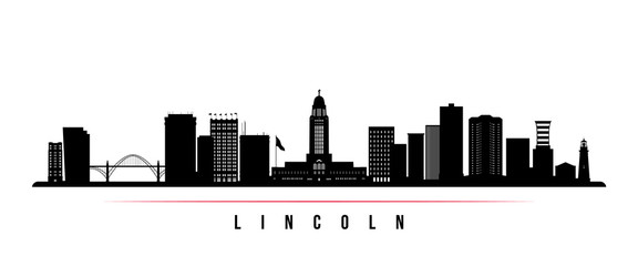 Lincoln skyline horizontal banner. Black and white silhouette of Lincoln, Nebraska. Vector template for your design.