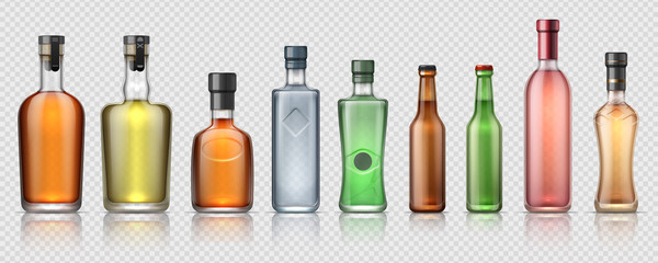 Realistic alcohol bottles. Transparent glass containers for whiskey, tequila, vermouth and other alcoholic beverages. Vector isolated set luxury bottle for beverage or premium drink