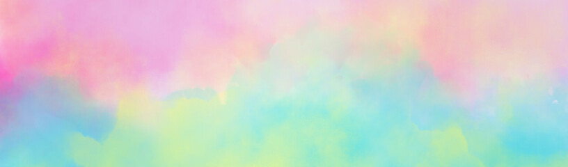 Colorful watercolor background of abstract sunset sky with puffy clouds in bright rainbow colors of pink green blue yellow and purple Wall mural