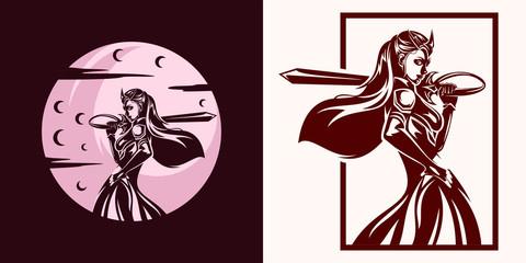 Woman Warrior Under Moon Night and Dark Day