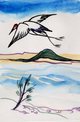 stork over the sea