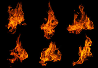 Deurstickers Vuur Fire collection set of flame burning isolated on dark background for graphic design purpose