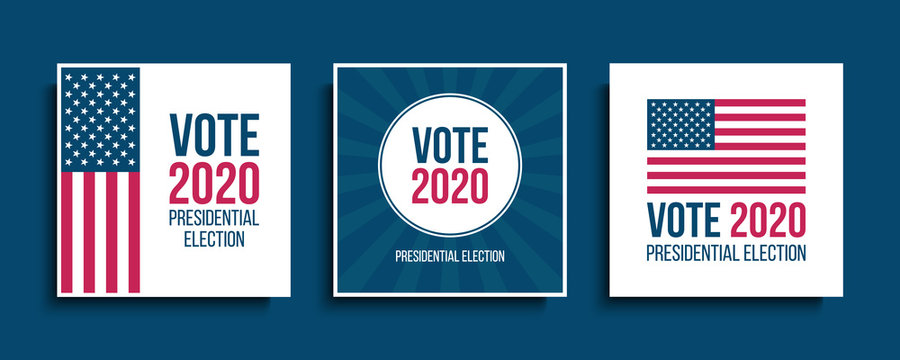 Vote USA 2020 Presidential Election cards set. Vector illustration.