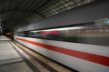 Printed roller blinds F1 Blurred Motion Of Train At Railroad Station