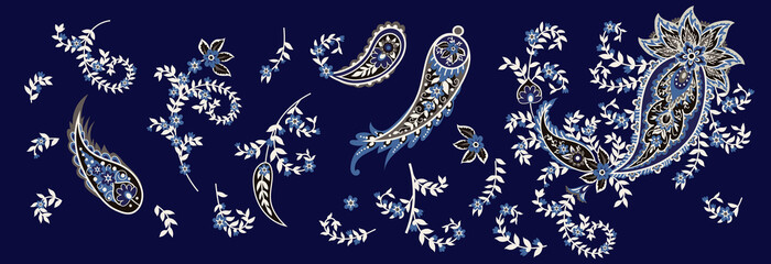 Set of paisley and blooming branches. Indian folk motif. Vector