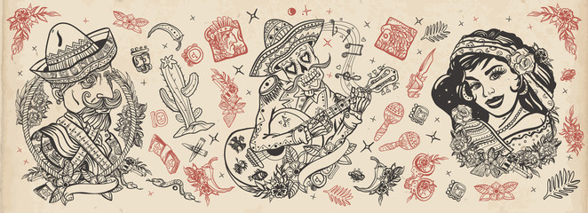 Mexico. Skeleton with guitar, mexican woman, bandit. Old school tattoo vector collection. Day Of Dead art. National culture and people. Traditional tattooing style