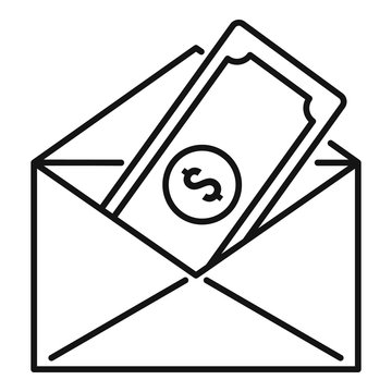 Money cash mail icon. Outline money cash mail vector icon for web design isolated on white background