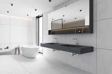 White tile bathroom corner, tub and sink Fototapete