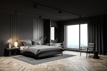 Gray bedroom corner with makeup table