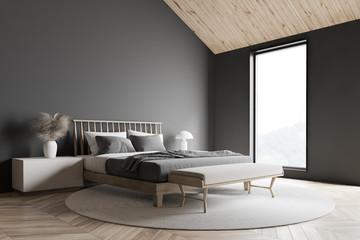 Gray attic master bedroom corner