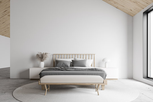 White attic master bedroom interior