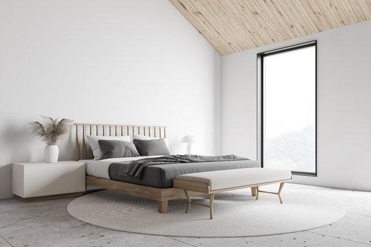 White attic master bedroom corner