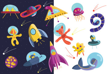 Collection of cartoon hand drawn space characters. Doodle UFO, ships, animals, jellyfish, worm, monsters, planets clipart. Funny and bright alien monsters. Space sticker set, vector illustration