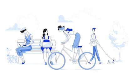 Attività quotidiane delle persone della società urbana moderna. Giornata al campus universitario - illustrazione vettoriale Wall mural