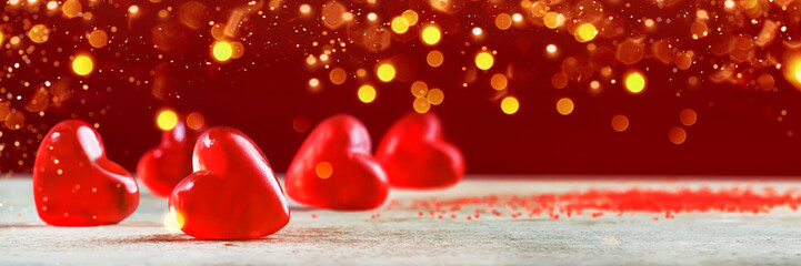 Valentine's Day Banner Background. Holiday Blinking Abstract Background with Glowing Hearts. Love...