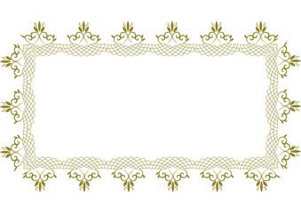 幾何学模様の金のハートフレームA