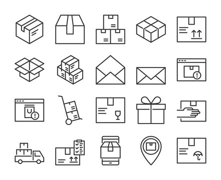 Package icon. Package Delivery line icons set. Editable stroke.