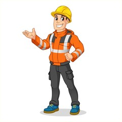 Male Industrial Worker with Safety Jacket and Hard Hat Present Something, People at Work, Cartoon Vector Illustration Mascot, in Isolated White Background.
