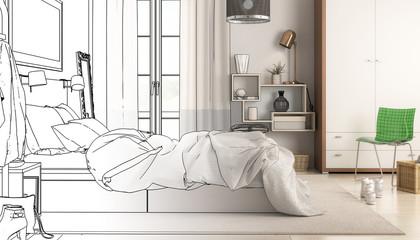 Modern Bedroom Arrangement (draft) - 3d visualization