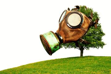 Baum mit Gasmaske, Klimaerwärmung durch Luftverschmutzung, isoliert auf weißem Hintergrund