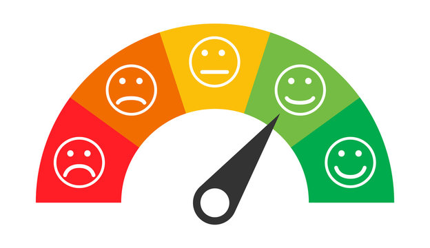 Customer icon emotions satisfaction meter with different symbol on white background