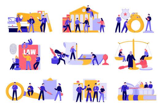 Lawyer Justice Flat Set