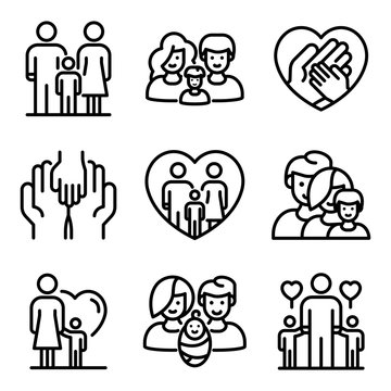 Foster family icons set. Outline set of foster family vector icons for web design isolated on white background