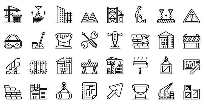 Building reconstruction icons set. Outline set of building reconstruction vector icons for web design isolated on white background