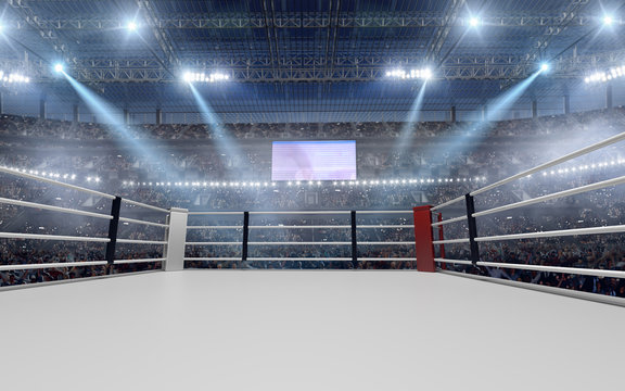3D render Boxing ring. Boxing arena.