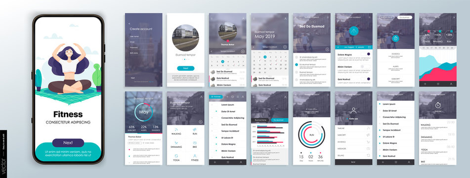 Design of the Fitness Application, UI, UX. Set of GUI Screens with Login and Password input, and Screens Showing Physical Activity, Health Infographics and Exercise Indicators.