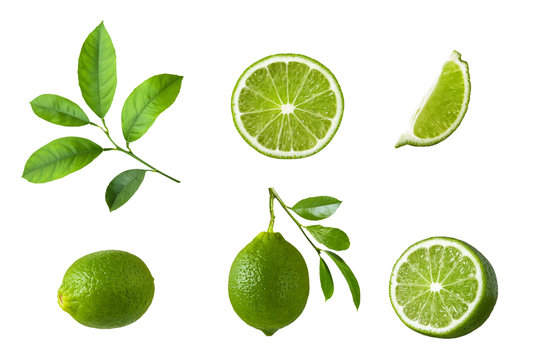 Set of lime fruit, green lime slices and leaf isolated on white background. Packing design element.